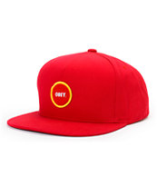 Obey Circle Patch Red Snapback Hat