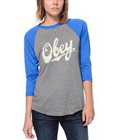 Obey Classic Script Grey & Blue Vintage Baseball T-Shirt