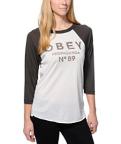 Obey Clean Obey 89 Natural & Charcoal Vintage Baseball Tee Shirt