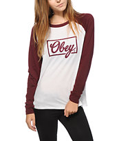 Obey Club Script Long Sleeve Raglan Shirt