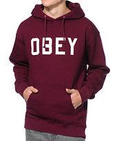 Obey Collegiate Burgundy Pullover Hoodie
