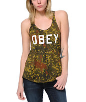 Obey Collegiate Camo Print Tank Top