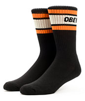 Obey Cooper Black & Orange Crew Socks