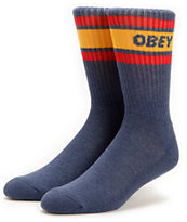 Obey Cooper Navy & Gold Crew Socks
