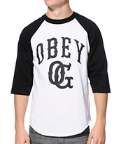 Obey Cooperstown White & Black Baseball Tee Shirt