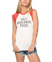 Obey Corner Block Cut-Off Raglan T-Shirt