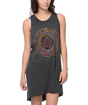 Obey Cosmic Blues Charcoal Rider Open Back Dress