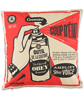 Obey Coup D'Etat Red & Cream Pillow