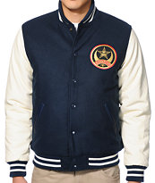 Obey Crescent Moon Navy Varsity Jacket