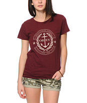 Obey Cruise Liner Burgundy Tee Shirt