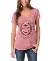 Obey Cruise Liner Red Scoop Neck Tee Shirt