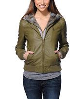 Obey Danger Zone Green Hooded Faux Leather Jacket