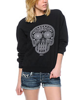 Obey Day Of Dead Crackle Black Throwback Crew Neck Sweatshirt