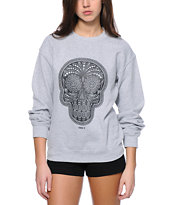 Obey Day Of Dead Crackle Grey Throwback Crew Neck Sweatshirt