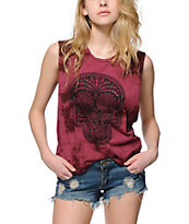 Obey Day Of The Dead Burgundy Tie Die Muscle Tee