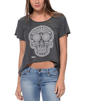 Obey Day Of The Dead Charcoal Slub Dolman Top