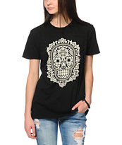 Obey Day Of The Dead Floral Black Tee Shirt