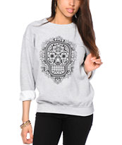 Obey Day Of The Dead Floral Throwback Crew Neck Sweatshirt