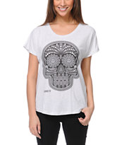 Obey Day Of The Dead Heather White Dolman Tee Shirt