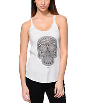Obey Day Of The Dead Heather White Tank Top