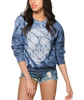 Obey Day Of The Dead Indigo Tie Dye Crew Neck Sweatshirt