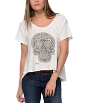 Obey Day Of The Dead Natural White Slub Dolman Top