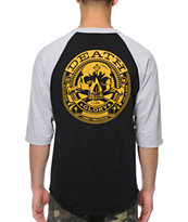 Obey Death Or Glory Black & Grey Baseball Tee Shirt