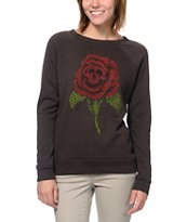 Obey Death Rose Black Vandal Crew Neck Sweatshirt