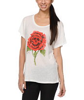 Obey Death Rose White Dolman Tee Shirt