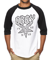 Obey Demon Goat Baseball Tee Shirt