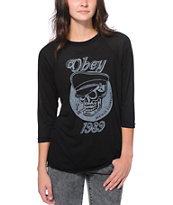 Obey Devious Scumbag Black Baseball Shirt