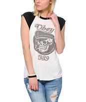 Obey Devious Scumbags Natural & Black Cut Off Raglan Tee Shirt