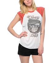 Obey Devious Scumbags Natural & Red Cut Off Raglan T-Shirt
