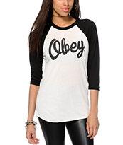 Obey Dewallen Script Baseball T-Shirt