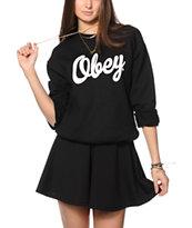 Obey Dewallen Script Crew Neck Sweatshirt
