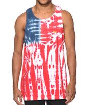Obey Dewallen Splatter Flag Tie Dye Tank Top
