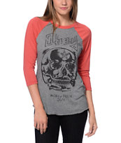 Obey Diamond Skull Grey & Red Vintage Baseball Tee Shirt