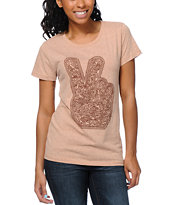 Obey Dirty Peace Fingers Heather Tan Tee Shirt