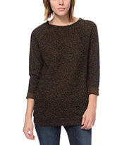 Obey Echo Mountain Brown Leopard Print Crew Neck Sweatshirt