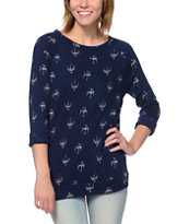 Obey Echo Mountain Ikat Print Blue Crew Neck Sweatshirt