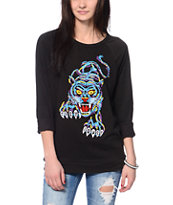 Obey Eden Embroidered Tiger Black Crew Neck Sweatshirt