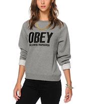 Obey Ellis Grey Crew Neck Sweatshirt