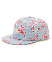 Obey Elodie Throwback Light Blue Floral Strapback Hat