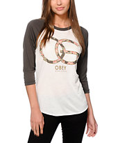 Obey Emporium Natural & Charcoal Vintage Baseball T-Shirt