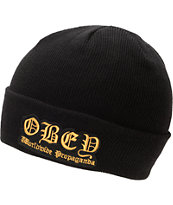 Obey English Black Fold Beanie
