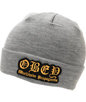 Obey English Heather Grey Fold Beanie