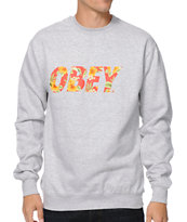 Obey Faster Times Heather Grey Crew Neck Sweatshirt