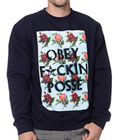 Obey Fckin Posse Navy Crew Neck Sweatshirt
