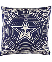 Obey Fidelity Navy Blue Throw Pillow