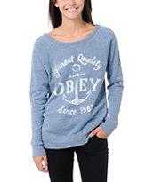 Obey Finest Anchor Blue Vandal Crew Neck Sweatshirt